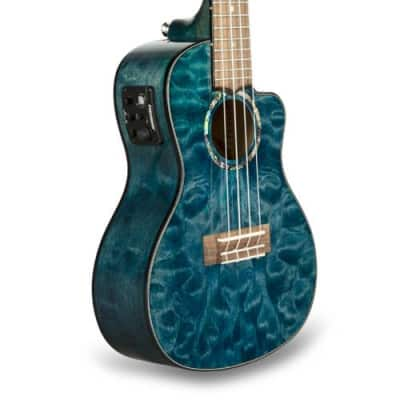 Lanikai Quilted Maple Blue Stain Concert with Kula Preamp A/E Ukulele for sale