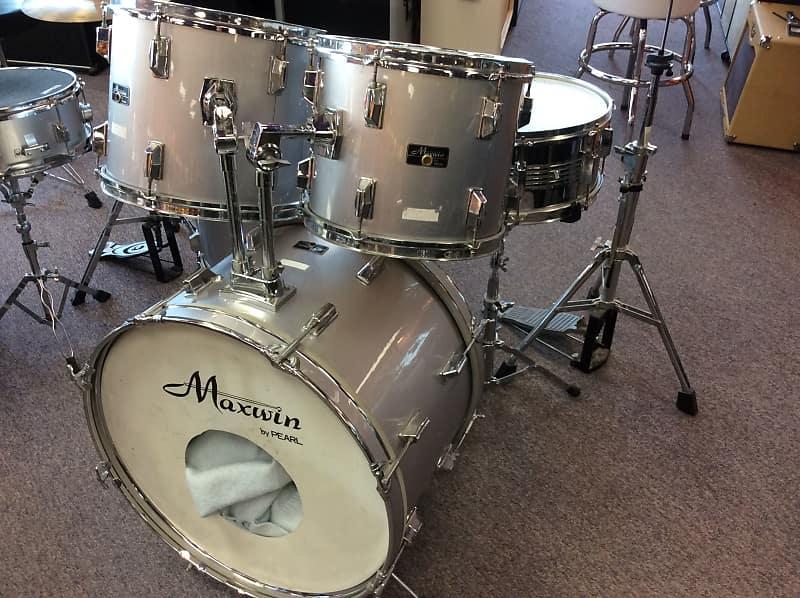 Maxwin 5 PIECE KIT Drum Kit 5 Piece Kit Silver/Gray   Reverb