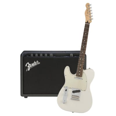 Fender Player Telecaster Left Hand Polar White Pau Ferro & Fender Mustang GT 40 Bundle for sale