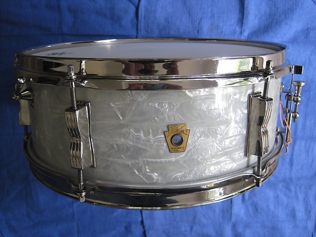 vintage ludwig snare drum 1965 white marine pearl nickel on reverb. Black Bedroom Furniture Sets. Home Design Ideas