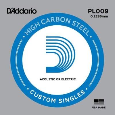 D'Addario PL09 Plain Steel Ball End .009 Single String