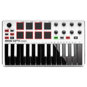 Akai MPK Mini MKII USB Compact Keyboard and MIDI Pad Controller - White