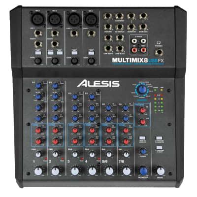 Alesis MultiMix 8 USB FX 8 Channel Studio Mixer w 4-XLR Inputs, FX & USB Output