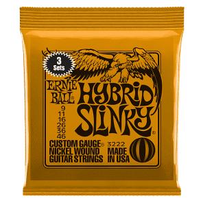 Ernie Ball 3222 Hybrid Slinky Nickel Wound Electric Guitar Strings 3-Pack