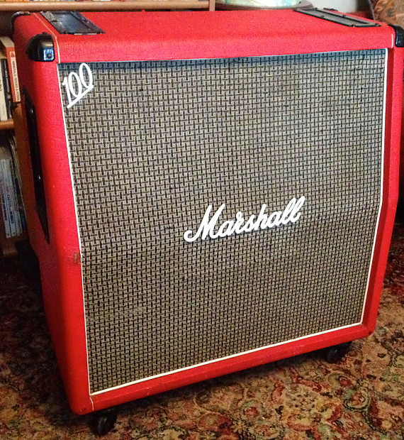 Vintage Marshall 1960A 4x12 1970s Super Rare Red Tolex Basketweave