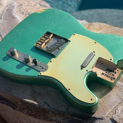 Real Life Relics Fully Loaded Tele Telecaster Body Aged Irish Mist Green Metallic