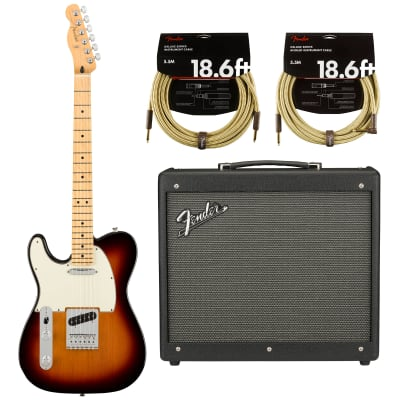 Fender Player Telecaster Electric Guitar - Maple LH Fingerboard - 3 Color Sunburst with Fender Mustang GTX 50 Digital Modeling Combo Amplifier and 2 Cables (4 items)