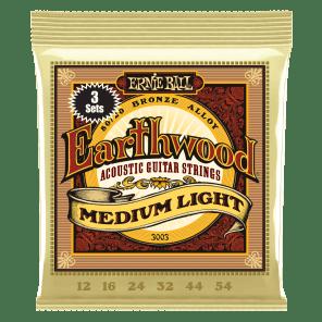 Ernie Ball Earthwood Medium Light 80/20 Bronze Acoustic Guitar Strings 3 Pack