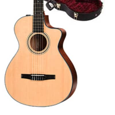 Taylor 300 Series 312ce-N Model Nylon String Grand Concert Cutaway Acoustic/Electric Guitar w/ Taylor Deluxe Brown Hardshell Case for sale