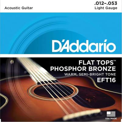 D'Addario EFT16 Phosphor Bronze Flat Tops, Light, 12-53