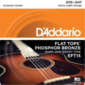 D'Addario EFT15 Flat Tops Phosphor Bronze Acoustic Guitar Strings, Extra Light Gauge