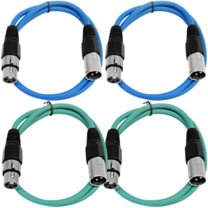 Seismic Audio SAXLX-2-2BLUE2GREEN XLR Male to XLR Female Patch Cables - 2' (4-Pack)