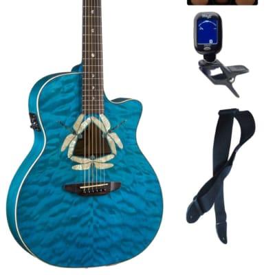 Luna FAU DF QM Fauna Dragonfly Quilted Maple Cutaway A/E Guitar, Bundle for sale