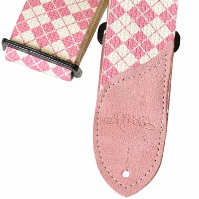 DAISY ROCK DRS11 pink argyle cotton guitar strap NEW