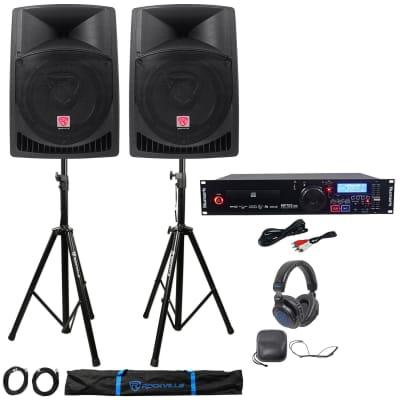 Numark MP103USB Pro Rack Mount DJ CD Player+2) Active Speakers+Stands+Headphones