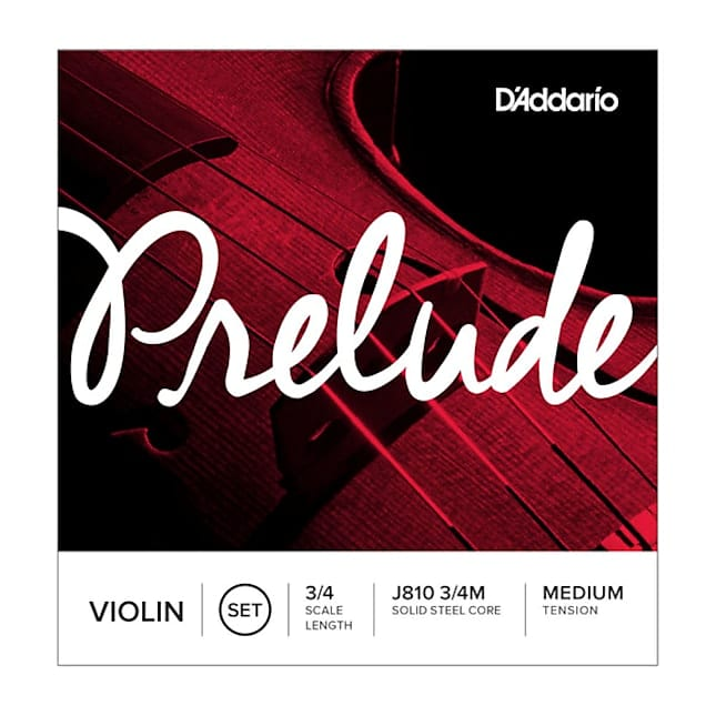 D'Addario Prelude Violin String Set, 3/4 Size, Medium Tension