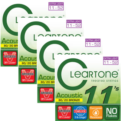 4 Sets Cleartone Acoustic Guitar Strings 80/20 Bronze Extra Light Coated 11-52