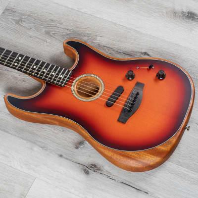 Fender American Acoustasonic Stratocaster Guitar, Ebony Board, 3 Color Sunburst