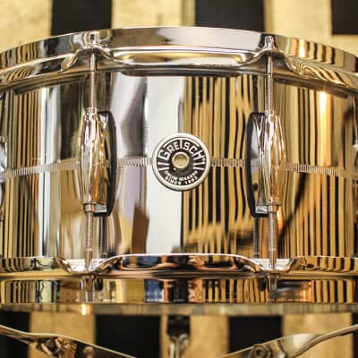 "Gretsch GB4164S Brooklyn Chrome Over Steel 6.5x14"" 10-Lug Snare Drum"