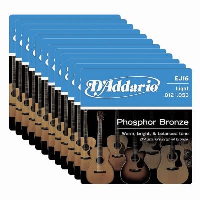 D'Addario EJ16 Acoustic Phosphor Bronze Light 12-53 12 Pack Bundle