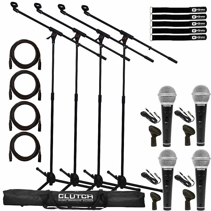 "4 Samson M10 Handheld Dynamic Vocal Microphones+XLR//1//4/"" Cables+Mic Clips"
