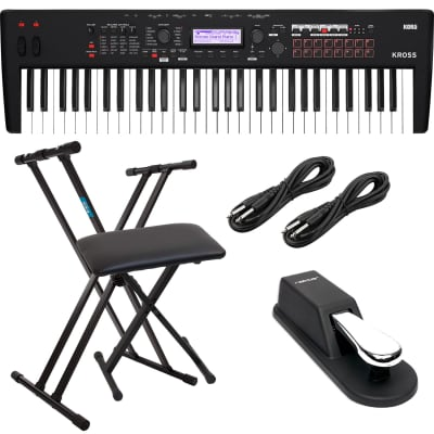 Korg KROSS 2 61-Key Synthesizer Workstation (Super Matte Black), Keyboard Stand, Bench, (2) 1/4 Cables, Sustain Pedal Bundle