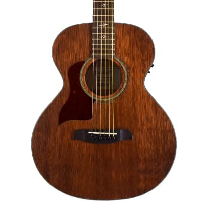Sawtooth Mahogany Series Left-Handed Solid Mahogany Top Acoustic-Electric Mini Jumbo Guitar with Padded Gig Bag and Pick Sampler for sale
