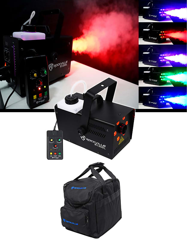Rockville R1200l Fog Smoke Machine W Led Lights Strobe Dmx 2 Remotes Carry Bag