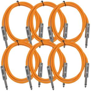 "Seismic Audio SASTSX-2ORANGE-6PK 1/4"" TS Patch Cable - 2' (6-Pack)"