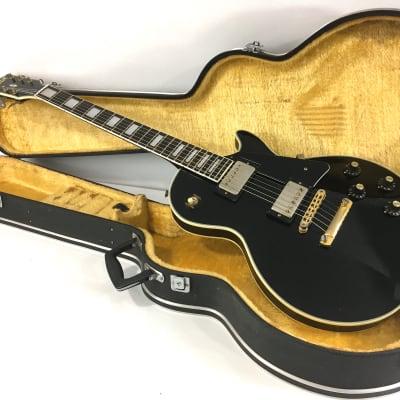 Rare Vintage Matsumoku Aspen Single Cut 1960s-70s Gloss Piano Black LP Aged Gold Hardware Original MIJ Hard Case for sale