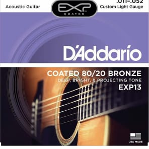 D'Addario EXP13 Coated 80/20 Bronze Acoustic Guitar Strings Custom Light 11-52