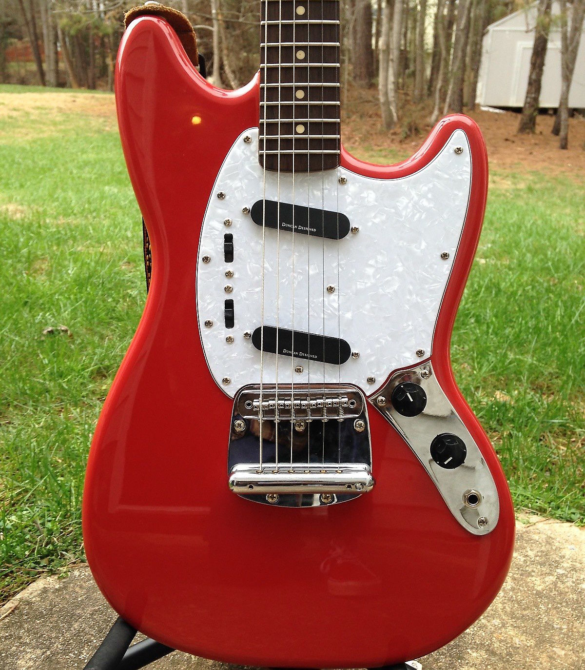 squier vintage modified mustang electric guitar fiesta red reverb. Black Bedroom Furniture Sets. Home Design Ideas