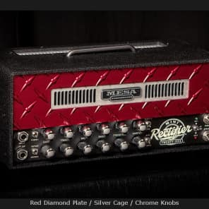 MESA/Boogie Mini Rectifier 25 Head - Custom Red Diamond Plate - Red Diamond Plate / Silver Cage / Chrome Knobs for sale