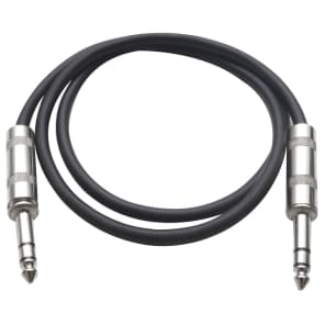 """Seismic Audio SATRX-2BLACK 1/4"""" TRS Patch Cable - 2'"""