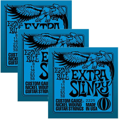 ERNIE BALL Extra Slinky Nickel Wound Electric Guitar Strings (2225) - 3 Pack