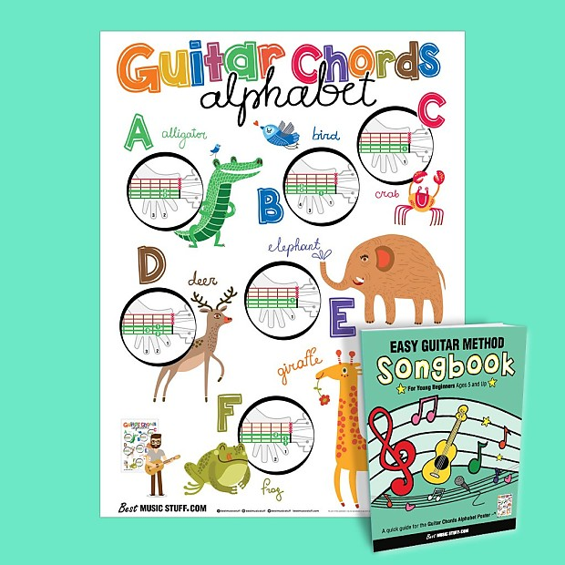Guitar Chords Alphabet Kids Learning Poster with Animals | Reverb