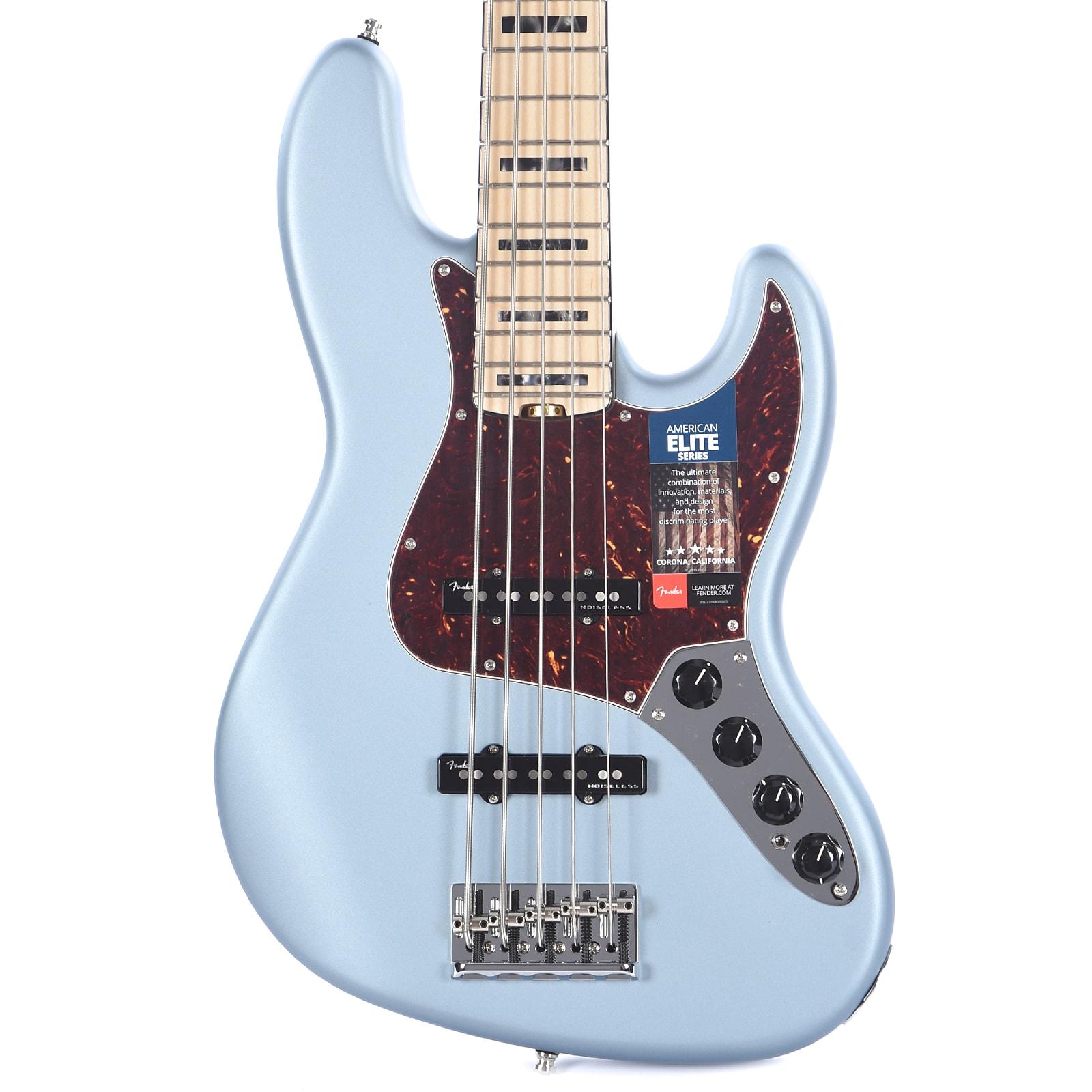 fender american elite jazz bass v 5 string satin ice blue metallic. Black Bedroom Furniture Sets. Home Design Ideas