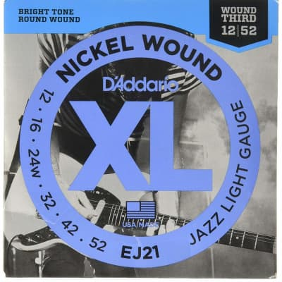 D'Addario EJ21 XL Nickel Wound Electric Guitar Strings, Jazz Light Gauge Standard