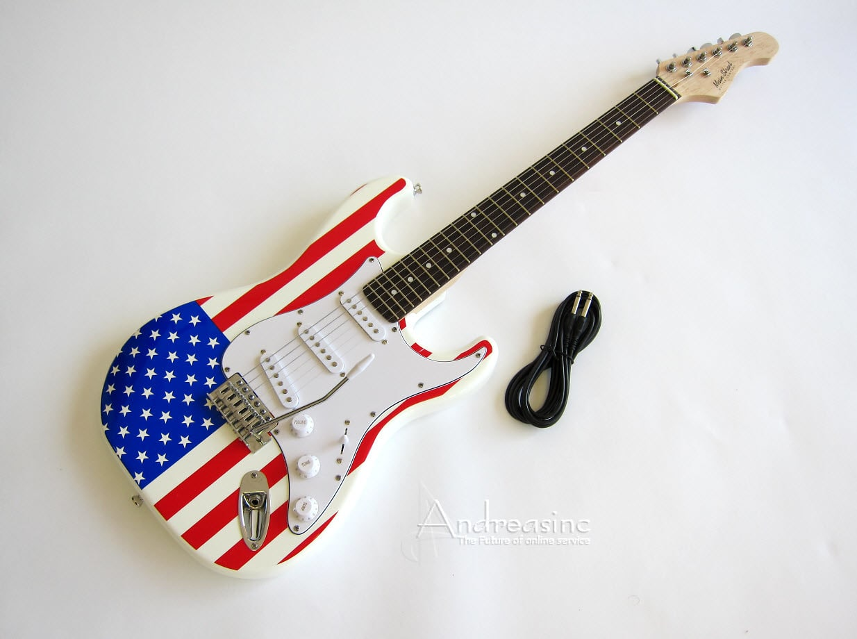 american flag strat electric guitar reverb. Black Bedroom Furniture Sets. Home Design Ideas