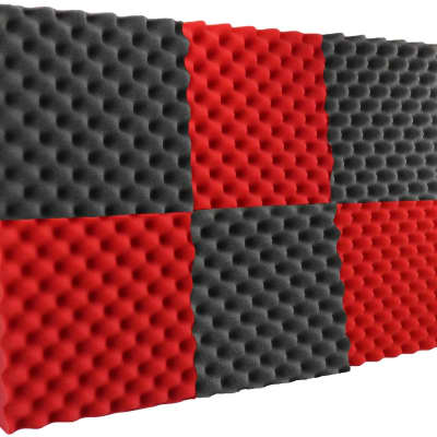 "New Level 6 Pack Acoustic Panels Studio Foam Egg Crate 2"" X 12"" X 12"" Red / Black"