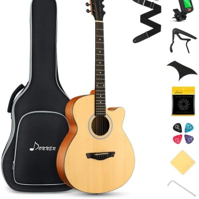"""40"""" Inch Full Size Vintage Cutaway Jumbo Acoustic Guitar Bundle With Accessories Starter Pack"""
