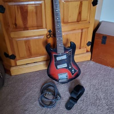 Vintage 1960's Norma EG 405-2 Electric Guitar In Crimson Red Burst Gold Foil Pickups Japan MIJ for sale