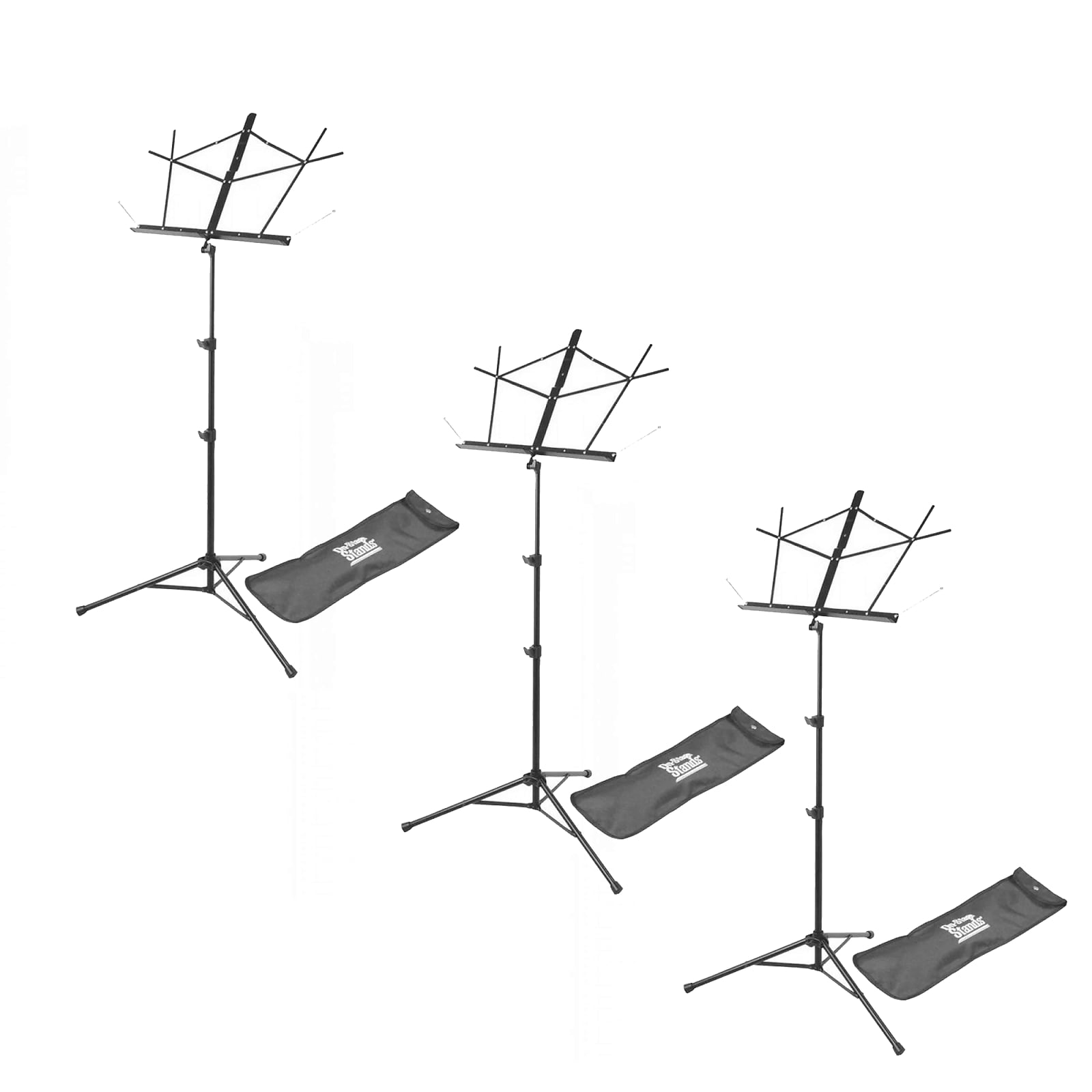 On Stage Stands Compact Sheet Music Stand Wbag 3 Pack Bundle