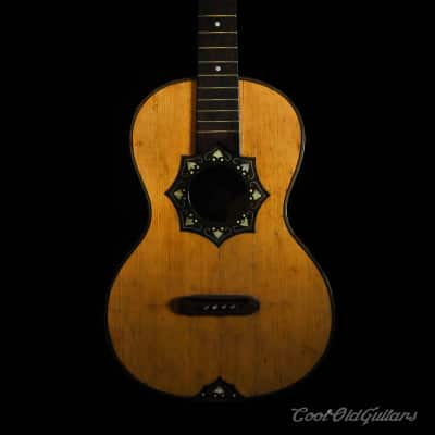 Ornate 1800s European Acoustic Parlor Guitar for sale