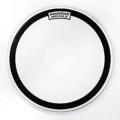 "Aquarian SKIII22 22"" White Texture Coated Super Kick IIIw/ Power Dot Bass Drum Head"
