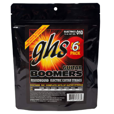 GHS GBL-5 SET Boomers Nickel-Plated Electric Guitar Strings - Light (10-46) 5-Pack with Free Pack
