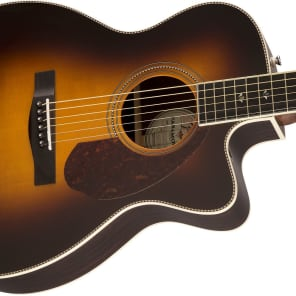 Fender Paramount Series PM-3 Deluxe Stika Spruce/Indian Rosewood Cutaway Triple-0 Vintage Sunburst