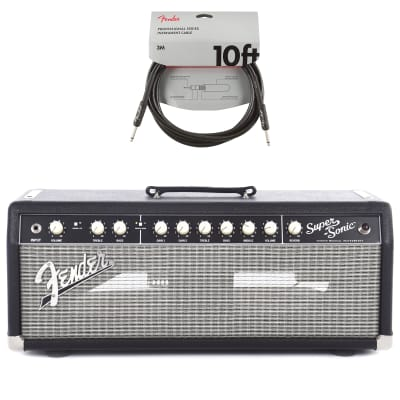 Fender Super-Sonic 22 Head Black & Silver 120V 8 ohm Cable Bundle