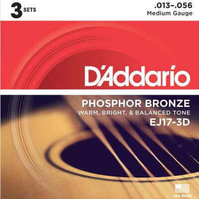 D'Addario EJ17-3D Phosphor Bronze Acoustic Guitar Strings Medium 13-56 3 Sets