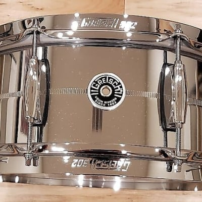 "Gretsch GB4165S Brooklyn Chrome Over Steel 5.5x14"" 8-Lug Snare Drum"